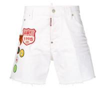embroidered badge denim shorts