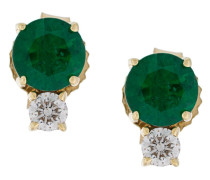 18kt gold diamond and emerald stud earrings