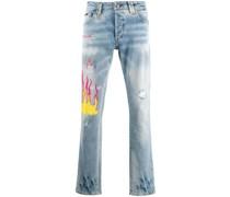 Gerade Jeans mit Graffiti-Print