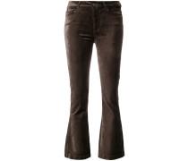 cropped flared velvet trousers