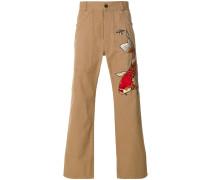 fish appliqué cropped trousers