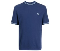 Geripptes T-Shirt mit Logo