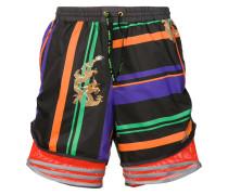 clash print drawstring shorts