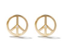 14kt 'Peace' Goldohrstecker mit einem Diamanten