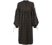 checked bell sleeve dress