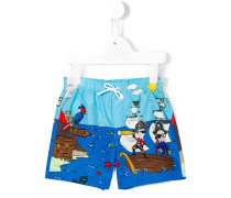 pirates print swim shorts