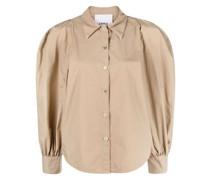 puff-shoulder cotton shirt