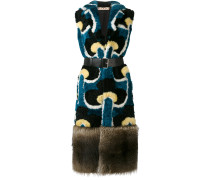 Portrait print fur gilet coat - women