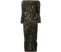 Gerafftes Kleid mit Leoparden-Print