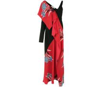 asymmetric oriental print dress