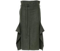 ruffled belted midi skirt