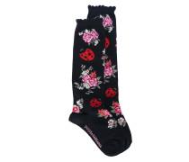 Intarsien-Socken mit Blumenmotiv