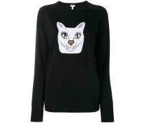 Intarsien-Pullover mit Katzenmotiv