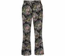 Cropped-Hose aus floralem Jacquard