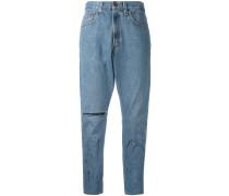 Cropped-Boyfriend-Jeans in Distressed-Optik