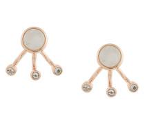 Vergoldete 'Three Gravitation' Sterlingsilber-Ohrstecke mit Mondsteinen und weißen Topasen