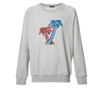 Sweatshirt mit aufgestickten Palmen