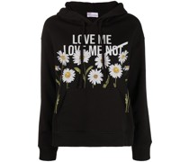 daisy print drawstring hoodie