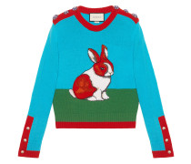 Rabbit intarsia wool knit top