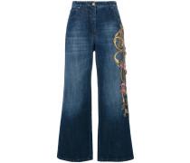 Jeans-Culottes mit floraler Stickerei