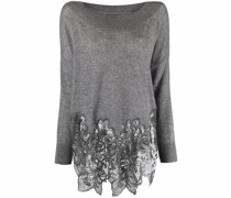 lace-trim knitted jumper