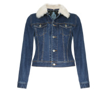 faux fur collar cropped denim jacket