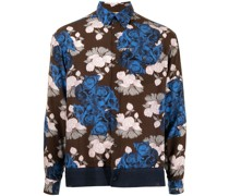 floral-print contrast-panel shirt