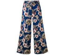 floral-jacquard trousers - women - Polyester