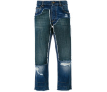 - Cropped-Jeans in Patchwork-Optik - women