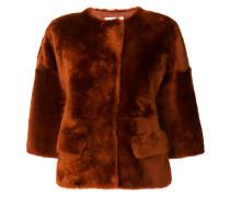 Shearling-Jacke mit Dreiviertelärmeln