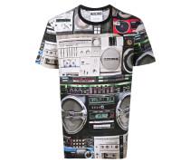 T-Shirt mit Stereoanlagen-Print