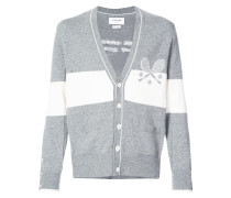 V-neck Cardigan With Striped Tennis Icon In Cashmere