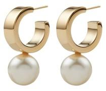 pearl-embellished hoop earrings