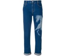 Boyfriend-Jeans mit Pferde-Print