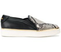 Slip-On-Sneakers mit Pythonledereinsatz