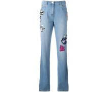Boyfriend-Jeans mit Patches