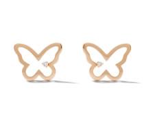 14kt 'Butterfly' Rotgoldohrstecker mit Diamanten
