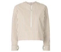 zipped striped blouse