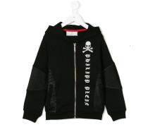 zip front printed hoodie