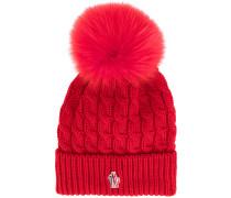 pom-pom knitted beanie hat