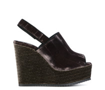 Samt-Sandalen mit Keilabsatz