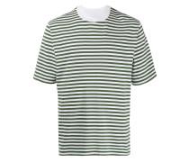 Gestreiftes T-Shirt mit Kragendetail