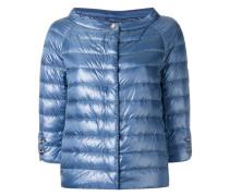 collarless puffer jacket