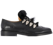 faux fur embellished lace-up brogues