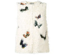 butterfly embroidered gilet - women
