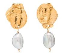 24kt vergoldete Silberohrringe mit Perlen