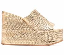Wedge-Sandalen im Metallic-Look
