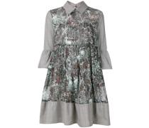 printed bell sleeve shirt dress