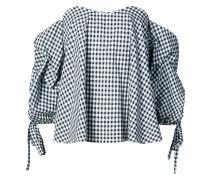 gingham print off the shoulder blouse