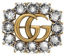 Brosche mit Doppel G und Kristallen